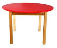 Стол деревянный с круглой столешницей цветной, красный 034 Финекс Плюс