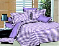 Двуспальный с евро простынью комплект постельного белья Клетка Фиолет