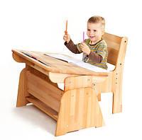 Парта С-890 (парта с пеналом), Абсолют + стул из натурального дерева. с-887