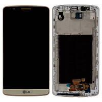 Дисплей (экран) LG G3 D855 с сенсором (тачскрином) и рамкой золотистый