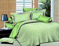 Двуспальный с евро простынью комплект постельного белья Клеточка Салатовая