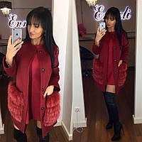 Яркое кашемировое женское пальто Enneli с натуральным песцом на карманах, бордовый цвет