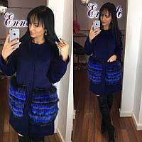 Яркое кашемировое женское пальто Enneli с натуральным песцом на карманах, синий цвет
