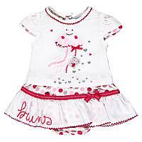 Верх лето комплект из 2-х ед футболка+ юбка,мишка с зонтиком,бодик в красный горошек дев. белый 100 % хлопок 1
