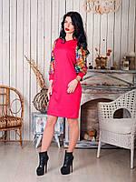 Стильное приталенное платье из трикотажа с атласными вставками на рукавах