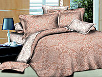 Двуспальный с евро простынью комплект постельного белья Парча Беж