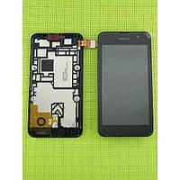 Дисплей (экран) Nokia Lumia 530 с сенсором (тачскрином) и рамкой черный
