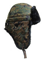 Камуфляжная шапка-ушанка на зиму