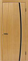 Двери межкомнатные шпонированные «ГЛАЗГО Идеал 1» с чёрным триплексом