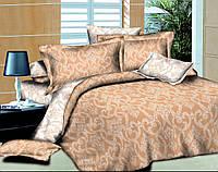 Двуспальный с евро простынью комплект постельного белья Ажур Беж