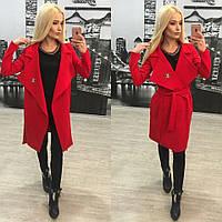 Элегантное женское пальто плотный итальянский трикотаж