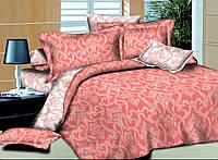 Двуспальный с евро простынью комплект постельного белья Ажур Коралловый
