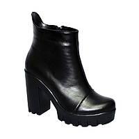 Ботинки кожаные женские демисезонные на высоком каблуке, фото 1