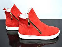 Женские зимние ботинки на низком ходу, подошва утолщенная, натуральная красная замша., фото 1