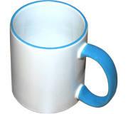 Чашка для сублимации (голубой ободок и ручка)