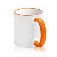 Чашка для сублимации (оранжевый  ободок и ручка)