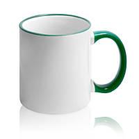 Чашка для сублимации (зеленый  ободок и ручка)
