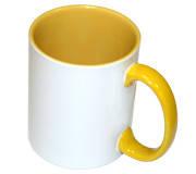 Чашка сублимационная желтая 330 мл(цветная внутри и цветная ручка)