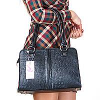 Прямоугольная сумка-портфель женская черная кроко