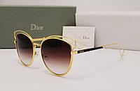 Женские солнцезащитные очки Dior Sideral 2  золото с коричневой линзой, фото 1