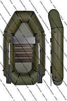 Надувная ПВХ лодка Хаки 210LS со сланью и поворотной уключиной
