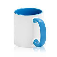 Чашка сублимационная голубая 330мл (цветная внутри и цветная ручка)