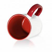 Чашка сублимационная красная 330мл  (цветная внутри и цветная ручка)