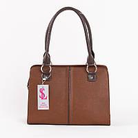 Коричневая деловая сумка-портфель женская компактная