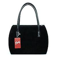 Черная замшевая сумочка №1334z овальная женская