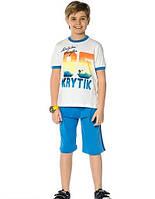 """Верх лето комплект из 2-х ед комплект футболка белого цвета с большими цифрами """"85"""" и шорты синего цвета мал."""