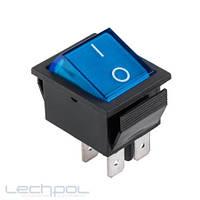 Переключатель чёрный широкий с синей клавишей