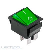 Переключатель чёрный широкий с зелёной клавишей