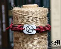 "Браслет плетеный Red  ""Peace"" (060203), фото 1"