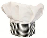 Колпак повара «Французский», шапка поварская белая с клетчатой стойкой Atteks - 1611