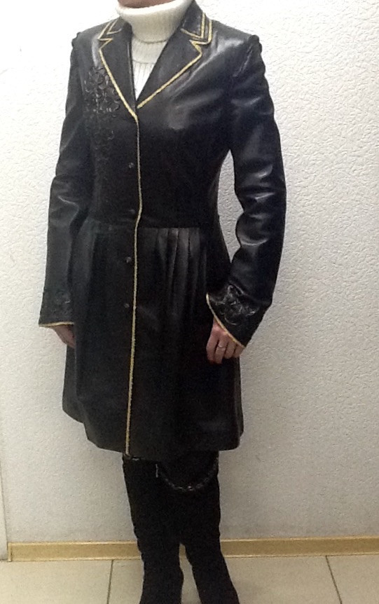 Пальто кожаное натуральное женское ADAMO черный