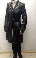 Пальто кожаное натуральное женское ADAMO черный, фото 1