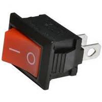 Переключатель чёрный с красной клавишей без подсветки мини