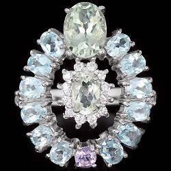 Серебряное кольцо с натуральными Аметистами Топазами и Cz