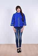 Модное молодежное пальто укороченное с красивой вышивкой
