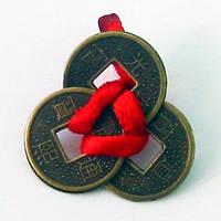 Монеты (3 шт.)(1,5см) в кошелек темные красная ленточка (100 шт/уп)