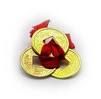 Монеты (3 шт)(1,5см) в кошелек золотые красная ленточка (100 шт/уп)