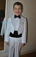Нарядный костюм для мальчика с фраком белый все размеры!