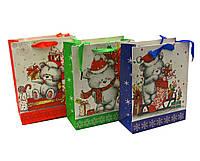 """Пакет подарочный """"Новый год"""" картон (12 шт/уп)(23х18 см)"""