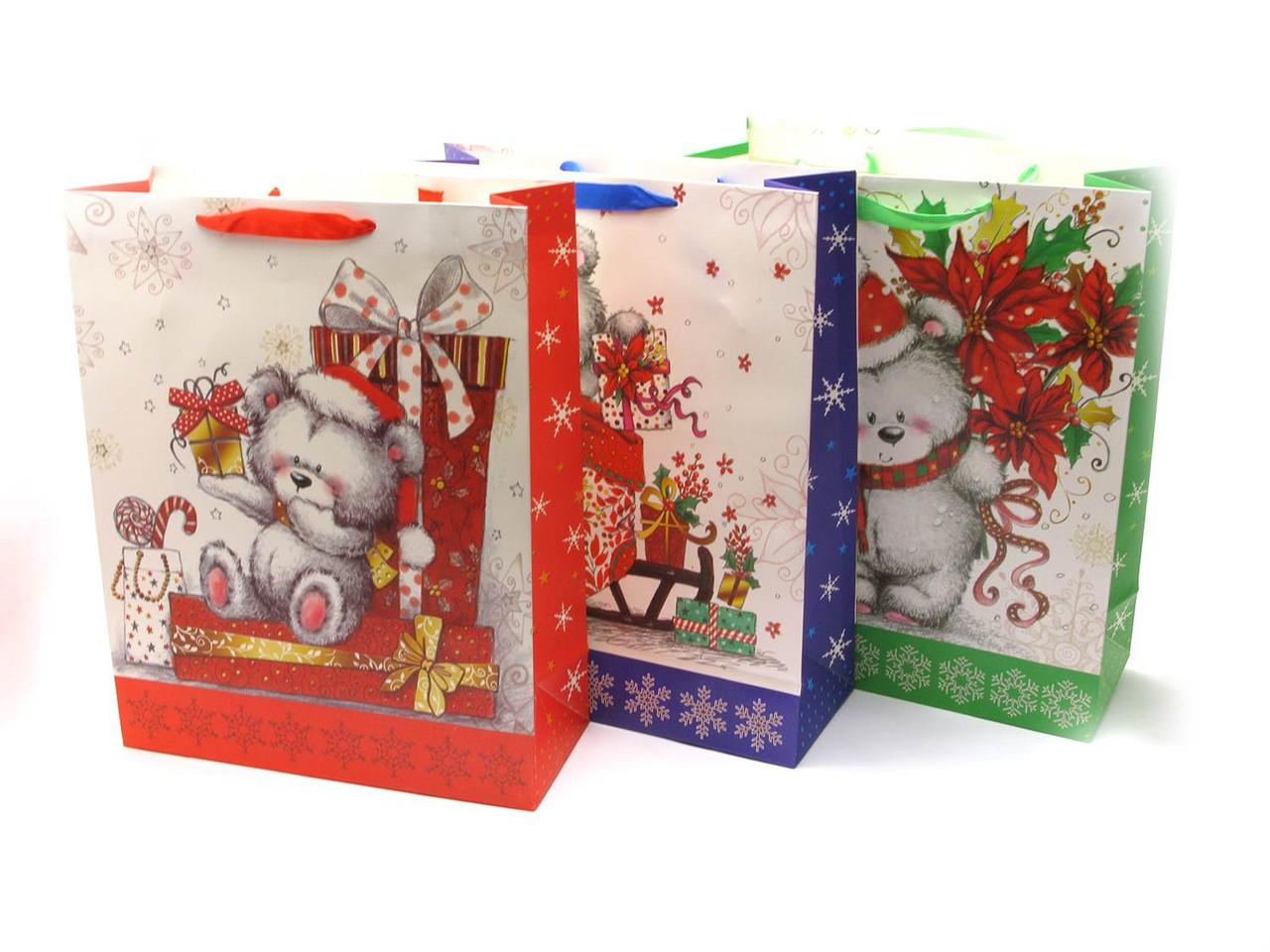 """Пакет подарочный """"Новый год""""картон (12 шт/уп)(38х30 см)"""