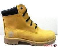 Ботинки демисезонные подростковые Timberland нубук желтые Т0020-2