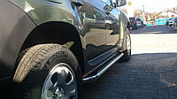 Renault Duster 2008+ гг. Боковые площадки Premium (2 шт., нерж.) 42 мм