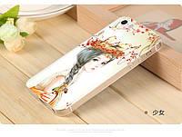 Чехол-накладка ультратонкое матовое покрытие с 3D рельефным рисунком для iphone 5g 5s