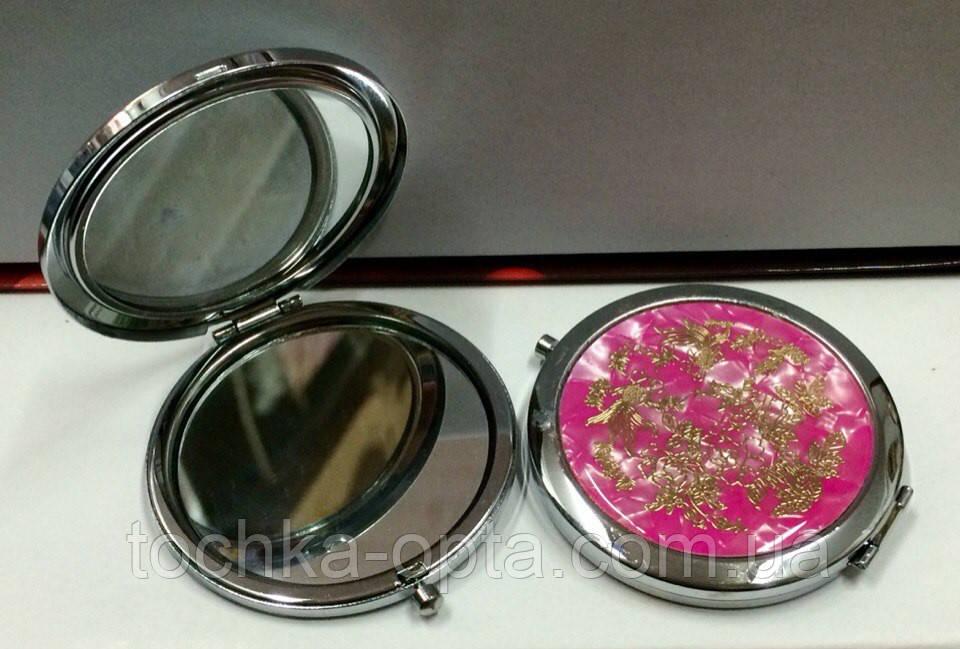 Зеркало макияжное с увеличением металлическое