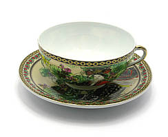 "Чашка+блюдце фарфор (SBS127) ""Китаянка зеленый (36шт.в ящ.)"