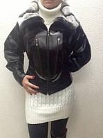 Кожаная женская куртка с мехом шиншиллы